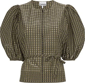 Ganni checked tie-waist blouse - Green