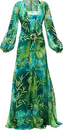 Versace Jungle-print Plunge-neck Silk-chiffon Dress - Womens - Green Print