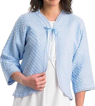 Slenderella Ladies 100% Acrylic Bed Jacket Diamond Pattern Cardigan with Crochet Trim - Medium (Blue)