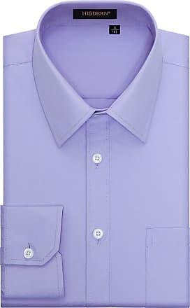 Hisdern Hisdern Mens Formal Dress Shirt Long Sleeve Cotton Purple Button Down Regular Fit Shirts for Men, Light Purple, 2XL(Chest 55¡å)