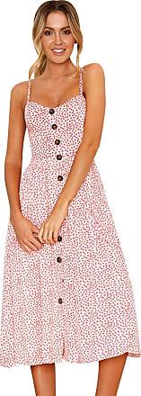 Isshe Backless Strappy Dresses Womens Spaghetti Strap Button Down Swing Summer Midi Dress Sleeveless V Neck Floral Sundress Beach Holiday Sun Dresses Day Bo