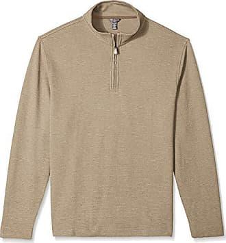 Van Heusen Mens Flex Long Sleeve 1/4 Zip Ottoman Solid Shirt, Khaki Chinchilla, Small