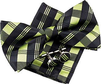 Retreez Tartan Check Patterns Woven Microfiber Pre-tied Bow Tie (Width: 5) with matching Pocket Square and Cufflinks, Gift Box Set as a Christmas Gift, Birthd