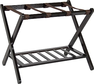 Best Choice Products Foldable Luggage Rack w/ Bottom Shelf - Brown