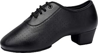 Insun Girls Lace-up Latin Salsa Tango Ballroom Dance Shoes Black Leather 12.5 UK Child
