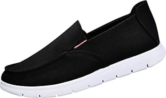 Daytwork Shoes Loafers Slip Ons - Mens Boat Shoes Canvas Sneakers Cloth Loafers Flat Comfort Leisure Vintage Walking Shoes Black