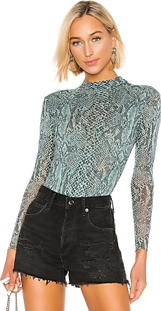 Only Hearts Python Tulle Mock Neck Bodysuit in Green
