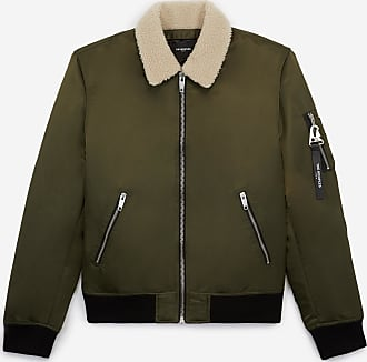 The Kooples Khaki satin bomber, removable sheepskin neck - MEN