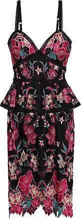 Marchesa Marchesa Notte Woman Embroidered Ponte Peplum Dress Black Size 14
