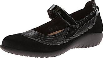Naot Naot Womens Kirei Mary Jane Flat,Black Madras Leather/Black Suede/Black Patent Leather,37 EU/5.5-6 M US