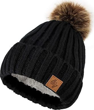 4sold Mens Womens Beanie Warm Winter Cable Knitted Bobble Hat Plain Ski Pom Wooly Cap Full Cosy Fleece Liner (Black Brown)