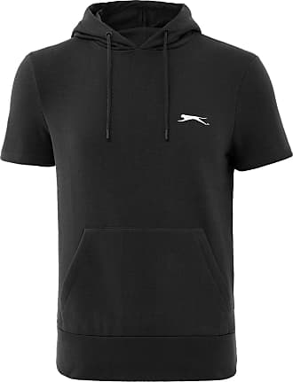 Slazenger Mens Big Size Cotton Rich Fleece Pull Over Hooded Top (Graham) in Black in 3XL