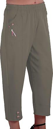 Eyecatch Women Capri Crop Pants Flexi Stretch Plus Sizes Ladies 3/4 Trousers Light Khaki Size 26
