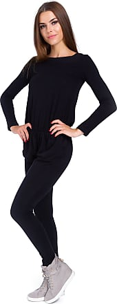 FUTURO FASHION Womens Boat Neck Long Sleeves Jumpsuit with Pockets Elasticated Waist 9002 Black