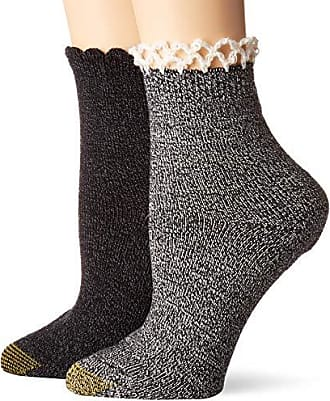 Gold Toe Womens Homespun Lace Socks, 2 Pairs, Black/White, Shoe Size: 6-9
