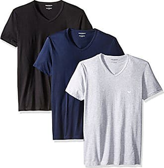 Emporio Armani Mens Cotton V-Neck Undershirts, 3-Pack, Grey/Navy/Black, Medium