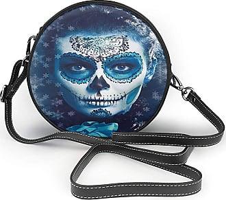 Turfed PU Round Shoulder Bag Lovely Sugar Skull Santa Muerte Concept Winter Season Ice Cold Snowflakes Frozen Dead Folkloric Shoulder Bag