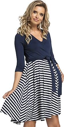 Happy Mama Womens Maternity Skater Dress 3/4 Sleeves 525p (Navy Stripes, UK 16/18, 2XL)