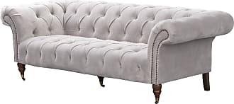 Dekoria Sofa Chesterfield Glamour Velvet Light Grey 3-Sitzer
