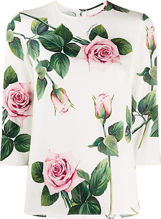 Dolce & Gabbana Camiseta com estampa de rosas tropicais - Branco