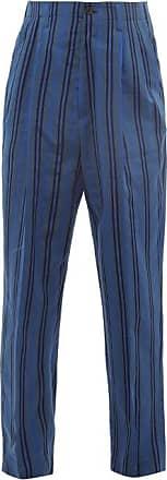 Haider Ackermann High-rise Pleated Striped Cotton-blend Trousers - Mens - Blue Multi