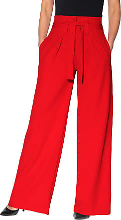 Krisp 3093-RED-18: Paper Bag Waist Palazzo Trousers