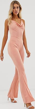 In The Style Slinky Halterneck Jumpsuit-Pink