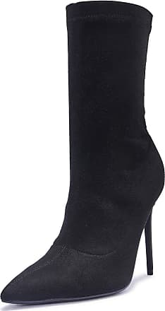 Truffle Womens Stretch Faux Leather Suede High Heel Ankle Sock Boots Pointed - Black - UK 3