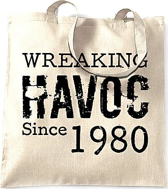 Tim And Ted 40th Birthday Tote Bag Wreaking Havoc Since 1980 - (Natural/One Size)
