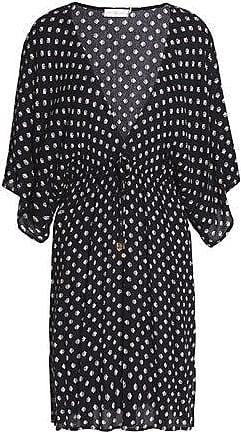 770546d01 Tory Burch Tory Burch Woman Printed Crinkled Gauze Coverup Black Size XL