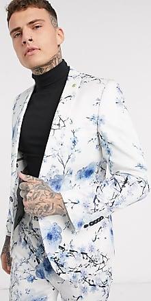Twisted Tailor Giacca da abito super skinny bianca con stampa a fiori blu-Bianco
