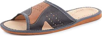 Ladeheid Men´s Leather Slippers Shoes Flipflops LABR108 (Grey/Beige, 9.5 UK)