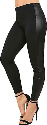 Islander Fashions Women High Waist Wet Look Contrast Side Panel Legging Ladies Shiny Stretch Pants Black X Large UK 16-18