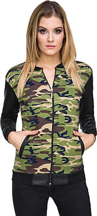 FUTURO FASHION Ladies Casual Military Bomber Quilted Long Sleeve Biker Jacket Zip Up Camouflage Outwear Army Coat FZ91
