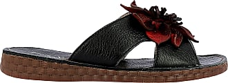 Laura Vita HECZO 06, Womens Leather Mules Summer Shoes Comfortable Sole - Original Style Flowers, Black Black Size: 8 UK