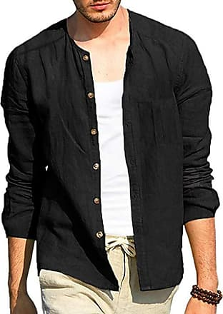 Hellomiko keephen Casual Simple Cotton Linen Henley Shirt Men Autumn New Single Breasted Long Sleeve Cardigan Shirt Black