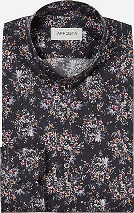 Apposta Camicia disegni a fiori multi 100% puro cotone popeline, collo stile coreano senza bottone