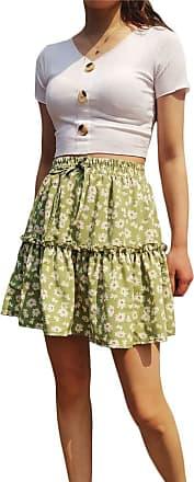 QIYUN.Z Womens A-line Floral Print Sunflower Print Pleated Mini Short Skirts with Drawstring Grass Green XL