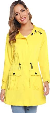 Abollria Rain Jacket Women Waterproof with Hood Lightweight Active Outdoor Parka Raincoat Windbreaker Yellow