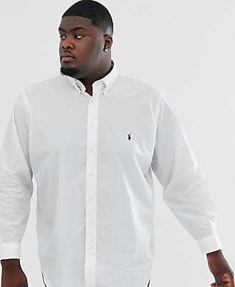 Polo Ralph Lauren Big & Tall - Camicia button-down in popeline stretch bianca con logo-Bianco