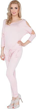 FUTURO FASHION Womens Jumpsuit with Pockets Boat Neck Open 3/4 Sleeve Playsuit Sizes 8-14 1081 Baby Pink