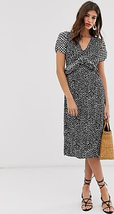 River Island puff sleeve midi dress with ruffle waist in black print