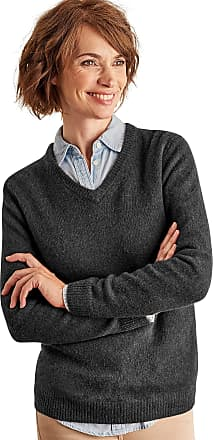 WoolOvers Womens Lambswool V Neck Jumper Charcoal, XL
