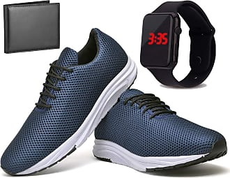 Juilli Kit Tênis Com Relógio LED e Carteira Masculino JUILLI R1108DB Tamanho:40;cor:Azul;gênero:Masculino