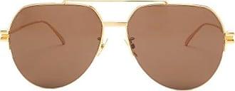 Bottega Veneta Aviator Metal Sunglasses - Mens - Brown