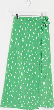 Monki Fran - Gonna midi a portafoglio verde con stampa a pois