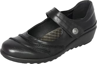 Cushion-Walk Womens Ladies EEE Extra Wide Fitting Shoes, Lightweight Black Faux Leather Mary Jane Shoes with Low Wedge Heel, Casual Work Office Nurse Comfort Shoes