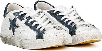 2Star Tênis jeans de couro e camurça - Branco