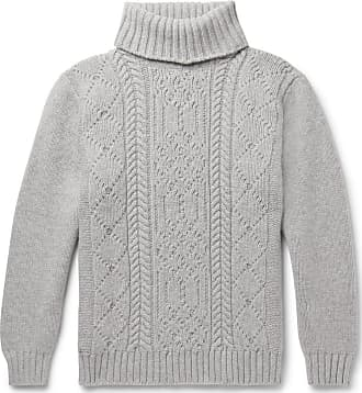 Inis Meáin Cable-knit Merino Wool Rollneck Sweater - Gray