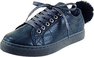 Angkorly damen Schuhe Sneaker - Bommel - glänzende Blockabsatz 2.5 CM -  Blau RW752 ... f774b91b4f